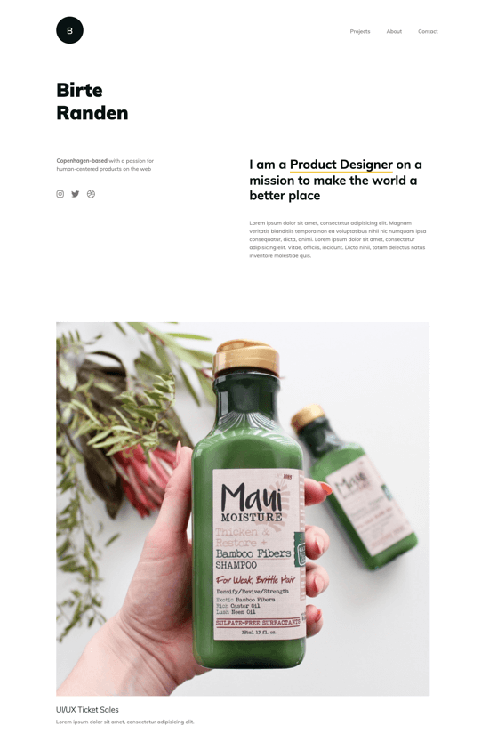 Premium onepage template for freelance product designers