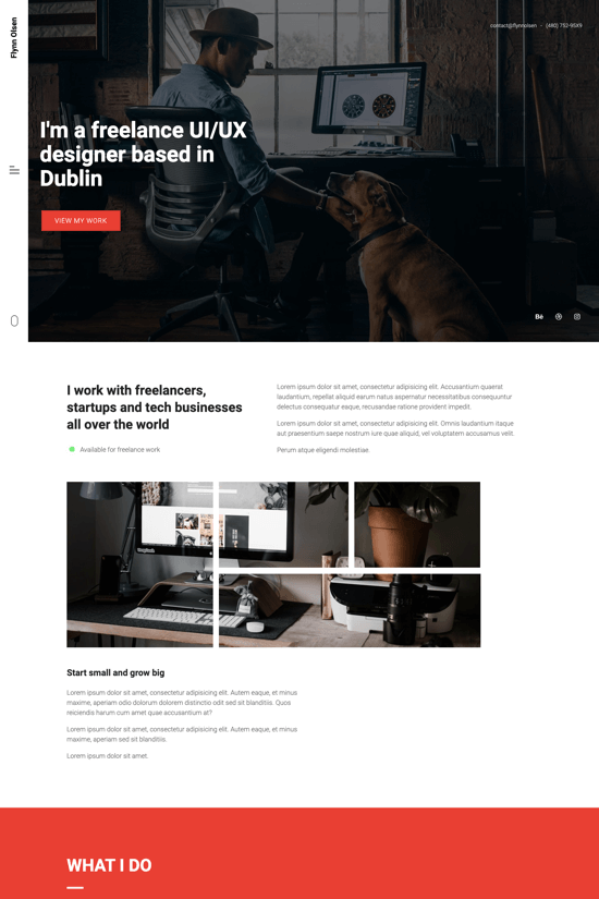 Premium onepage template for freelance UI/UX designers