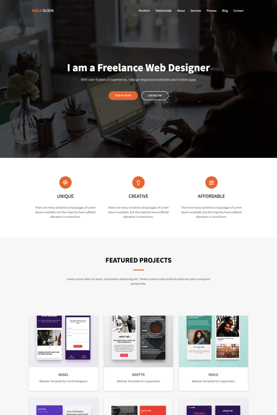 Premium onepage template for freelance web designers and developers