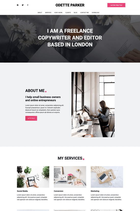 Premium onepage template for freelance copywriters