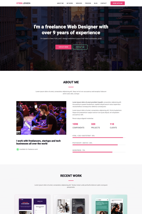Premium onepage template for freelance web designers